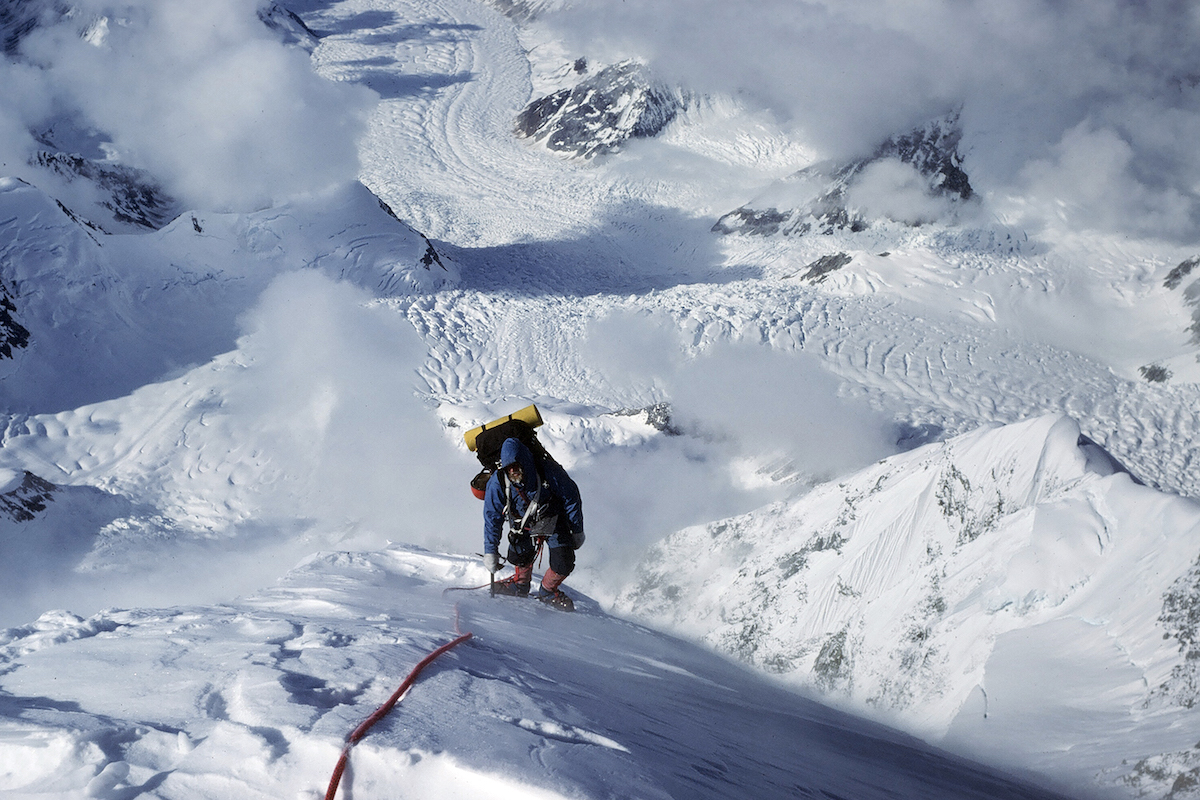 Michael Kennedy on the upper slopes of Alaska's Sultana (Mt. Foraker) during the 1977 first ascent of the Infinite Spur with George Lowe. [Photo] George Lowe, courtesy of the American Alpine Club