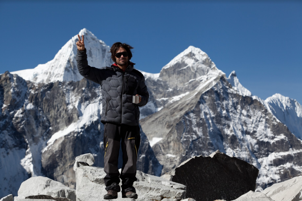 Jeremy Jones in Nepal. [Photo] Andrew Miller, courtesy of the American Alpine Club