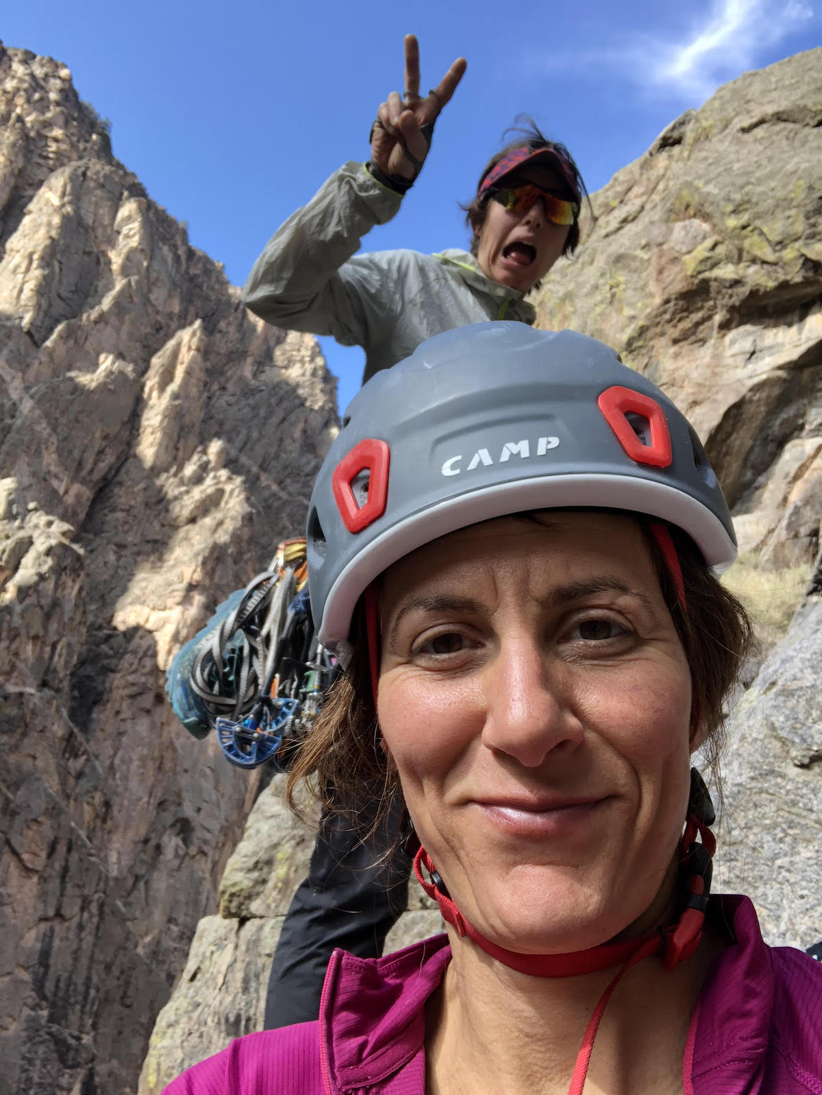 Mary Harlan (foreground) and Sorkin in the Black Canyon. [Photo] Mary Harlan
