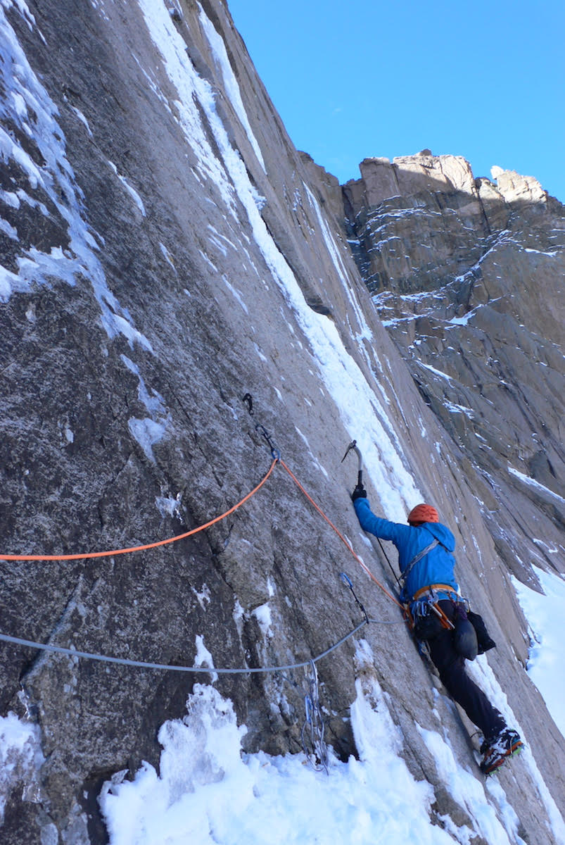 Kevin Cooper leading Pitch 2 of Cannonball during the first ascent. [Photo] Kelly Cordes