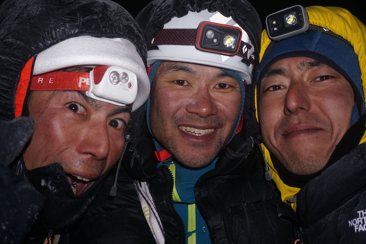 The team on the summit. [Photo] Genki Narumi, Yusuke Sato and Hiroki Yamamoto collection