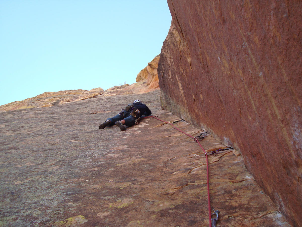 Chace on the Original Route, Rainbow Wall (V 5.12a, 14 pitches), Red Rock, Nevada. [Photo] Roger Briggs