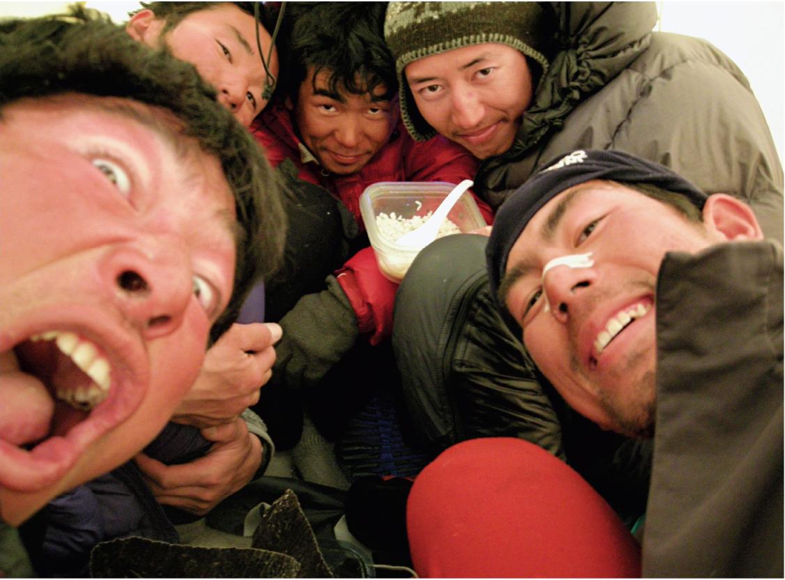 The Giri-Giri Boys. From left to right: Yokoyama, Ichimura, Inoue, Yamada, Sato. [Photo] Katsutaka Yokoyama