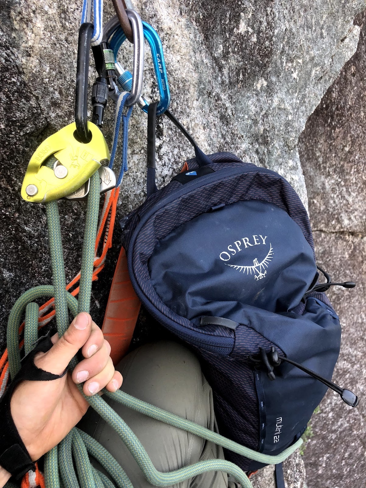 The Osprey Mutant 22-liter after being dragged up Pitch 2 of Quickdraw in Squamish, British Columbia. Essentially good as new! [Photo] Mallorie Estenson
