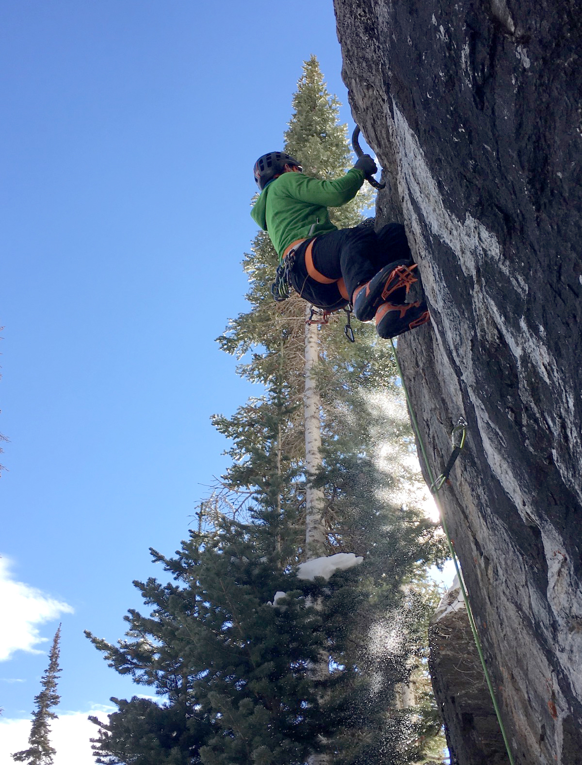 Chris Van Leuven testing the new Petzl Nomic ice tools in Rocky Mountain National Park. [Photo] Colby Rickard