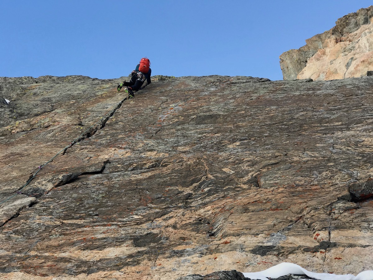 Tyler Kempney leading the first pitch of Two Dragons (M7, 3 pitches) in Rocky Mountain National Park. Kempney is in the area of the pitch where Van Leuven bent the Pur'Ice pick on his tool. [Photo] Chris Van Leuven