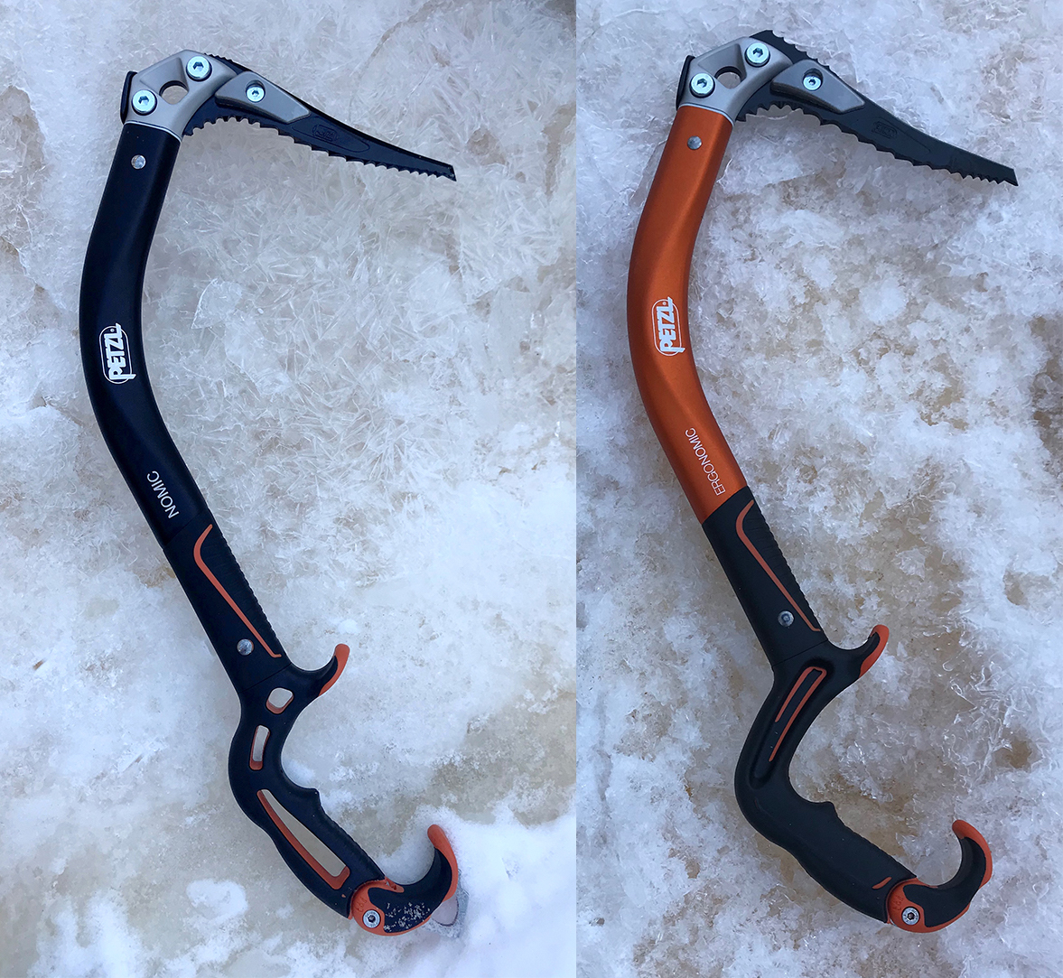 The new versions of the Petzl Nomic (left) and Ergonomic ice tools. [Photo] Chris Van Leuven