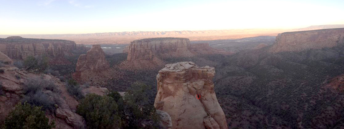 A bystander took this picture of the author (circled in red) rope soloing on Grand View Spire in Colorado National Monument on November 9. Franz was surprised that the SPOT X had difficulty getting a satellite connection on top of the spire. [Photo] Courtesy of Jose Rommel Samson Tuason