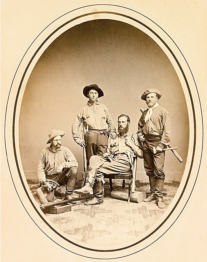 Clarence King (far right) with other members of the Geological Survey of California in 1864. [Photo] Silas Selleck, National Portrait Gallery, Smithsonian Institution