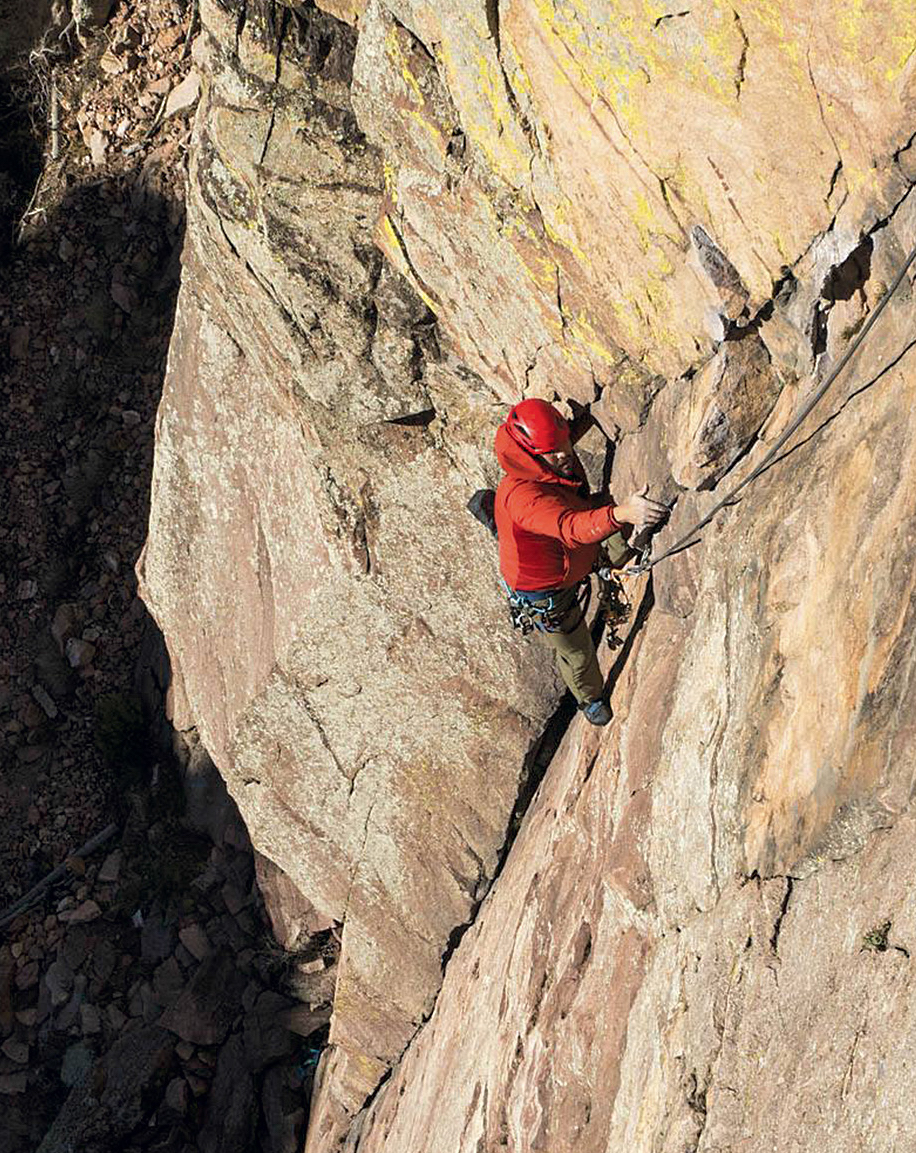 Necefer on Calypso Direct (5.8), Eldorado Canyon, Colorado. [Photo] Steve Crusher Bartlett