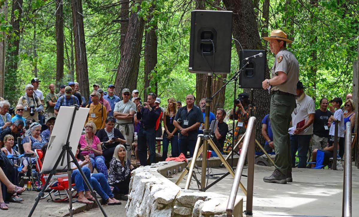 Yosemite Park Superintendent Mike Reynolds speaks at the memorial service for Jim Bridwell on May 19. [Photo] Ed Hartouni