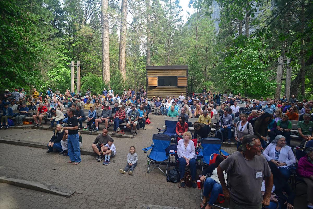 The gathering to honor the life of Jim Bridwell in Yosemite's Lower River Amphitheater. [Photo] Ed Hartouni