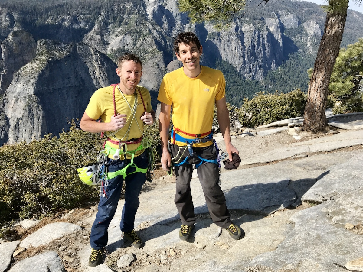 Tommy Caldwell and Alex Honnold on the summit of the Nose, El Capitan. [Photo] REEL ROCK Film Tour, Sam Crossley