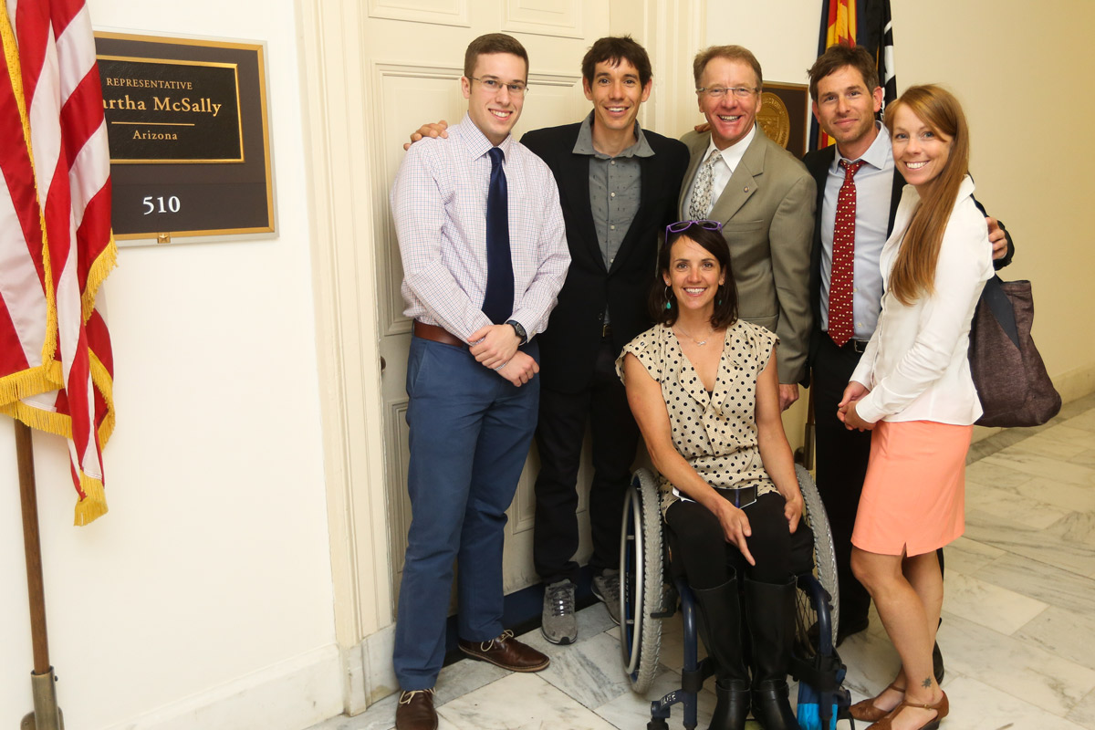 Staff members of Representative Martha McSally (R-AZ) met with a Climb the Hill delegation today that included Alex Honnold, Access Fund Policy Director Erik Murdock, Libby Sauter and Quinn Brett. [Photo] Stephen Gosling