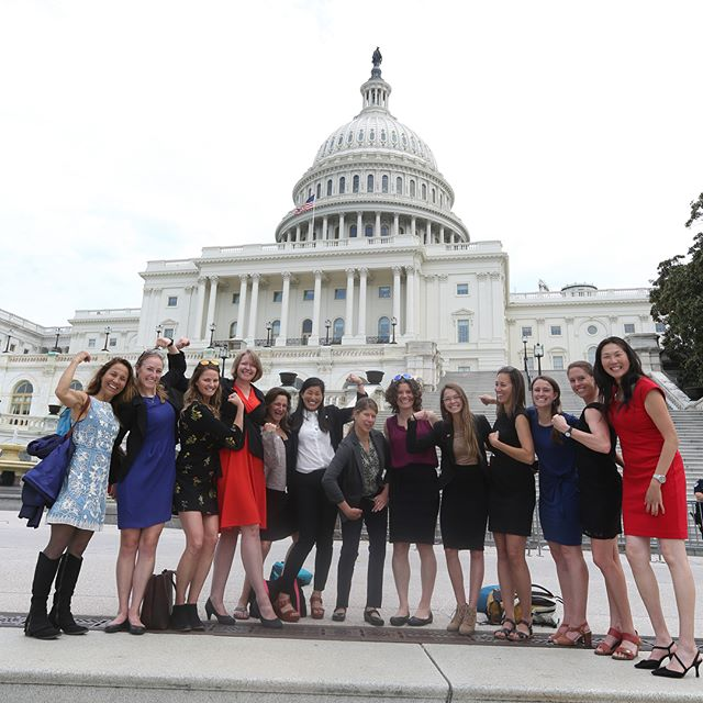 Climber representatives pose in front of the nation's capital in Washington, DC, last year during the Access Fund and American Alpine Club's third annual Climb the Hill event, which included more than 60 delegates. [Photo] Stephen Gosling