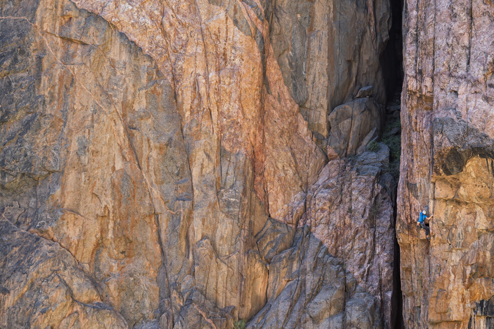 Madaleine Sorkin onsighting the crux pitch of Qualgeist (IV 5.12) on North Chasm View Wall in the Black Canyon of the Gunnison, Colorado, 2012. [Photo] Chris Noble