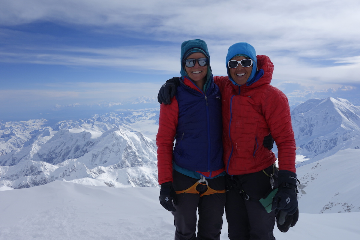 Anne Gilbert Chase, left, and Chantel Astorga on the summit of Denali, June 5, after climbing the Slovak Direct. [Photo] Ian McEleney