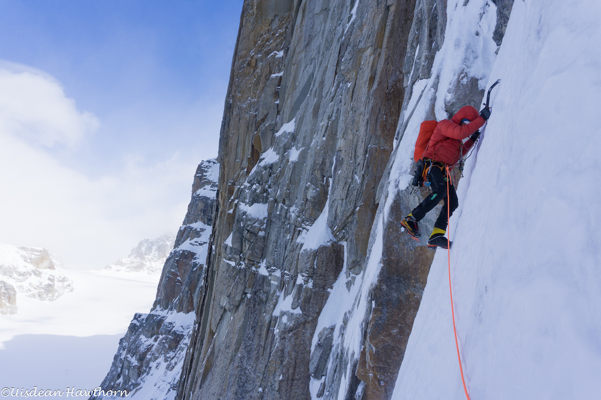 Livingstone on steep neve on Jezebel's north face. [Photo] Uisdean Hawthorn