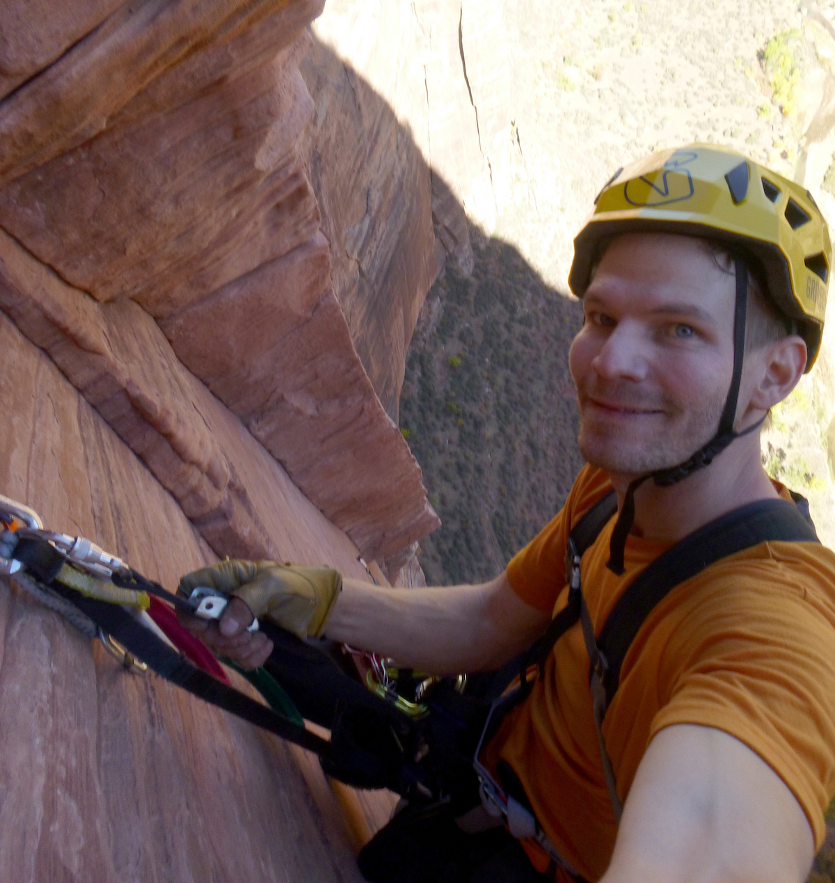 The author wearing the Grivel Stealth Hardshell helmet on the second-to-last pitch of Prodigal Sun in Zion, October 2017. [Photo] Derek Franz