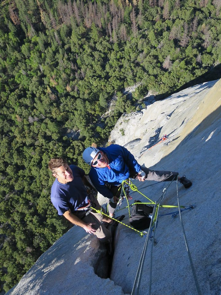 Jason Wells, left, and Tim Klein on the Nose of El Capitan, 2017. [Photo] Courtesy of Stefan Griebel