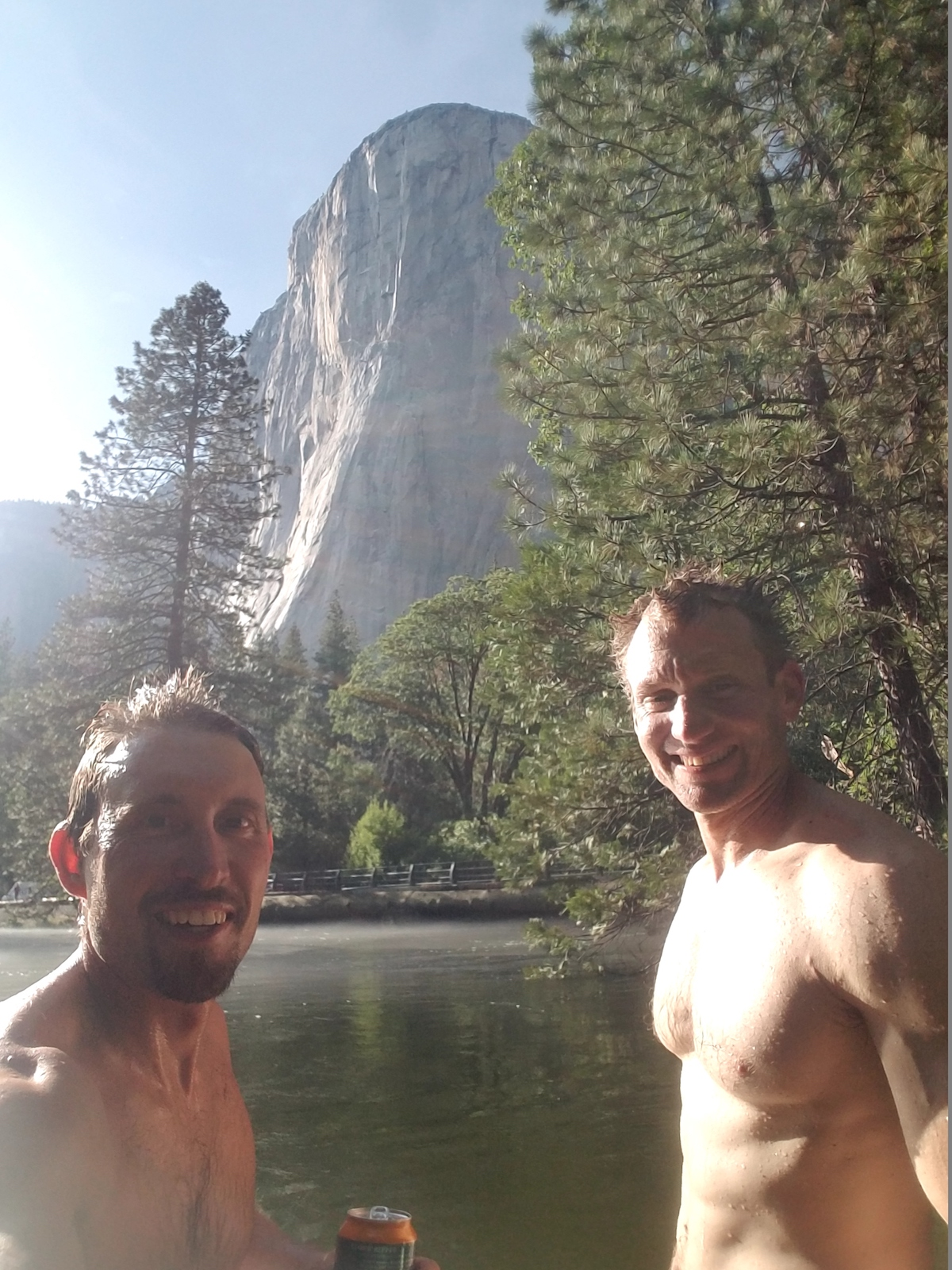 Stefan Griebel, left, and Klein after climbing El Cap, 2017. [Photo] Courtesy of Stefan Griebel