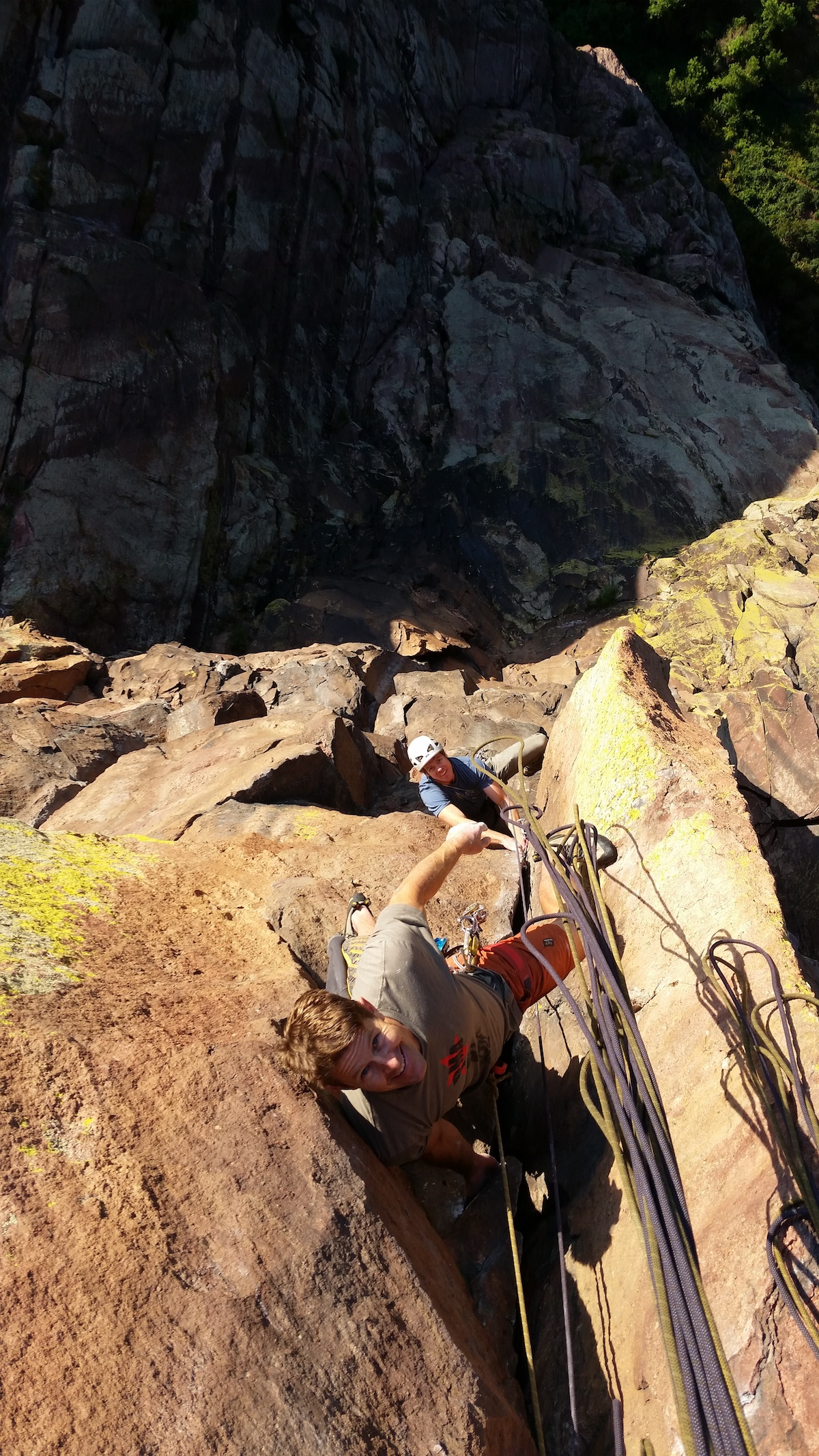 Wells and Robinson on the Naked Edge in Eldorado Canyon, Colorado. [Photo] Courtesy of Stefan Griebel
