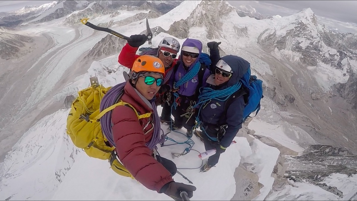 Dawa Yangzum Sherpa, her older brother Dawa Gyalje Sherpa, Pasang Kidar Sherpa and Nima Tenji Sherpa are pictured here (not in order of appearance) on top of Langdung (6357m) in Nepal after completing the mountain's first ascent on December 20, 2017. The ascent is included with 57 other climbs from 2017 that were considered for the Piolets d'Or Awards in Ladek, Poland this September. [Photo] Pasang Kidar Sherpa