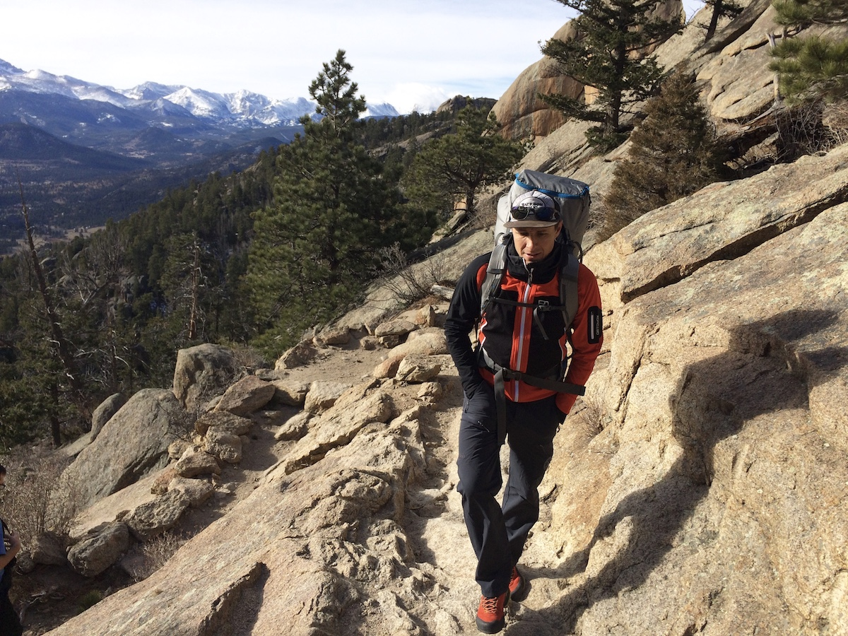 The author wears the Ortovox Col Becchei softshell jacket on the trail in Rocky Mountain National Park, Colorado. [Photo] Chris Wood