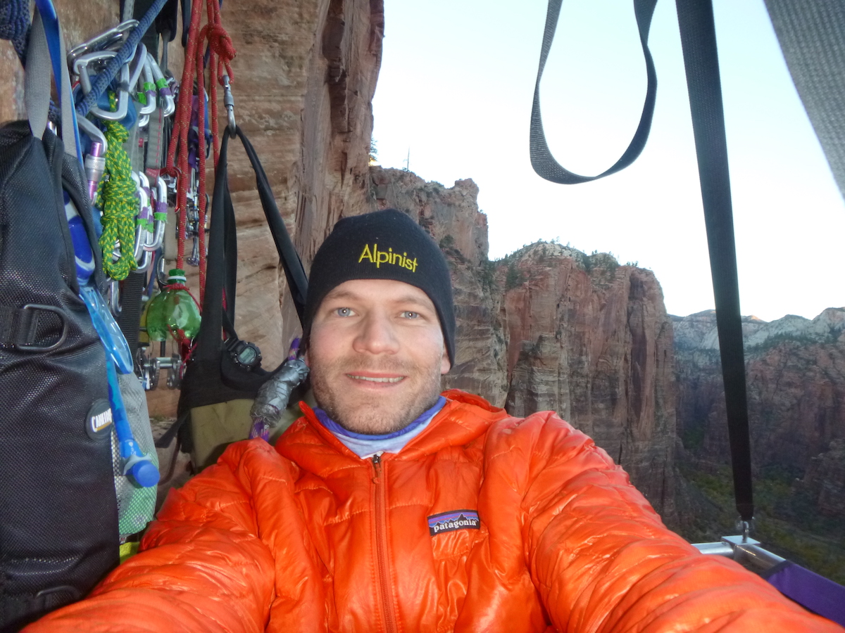 The author wearing the Patagonia Micro Puff jacket on Prodigal Sun in Zion last October. [Photo] Derek Franz