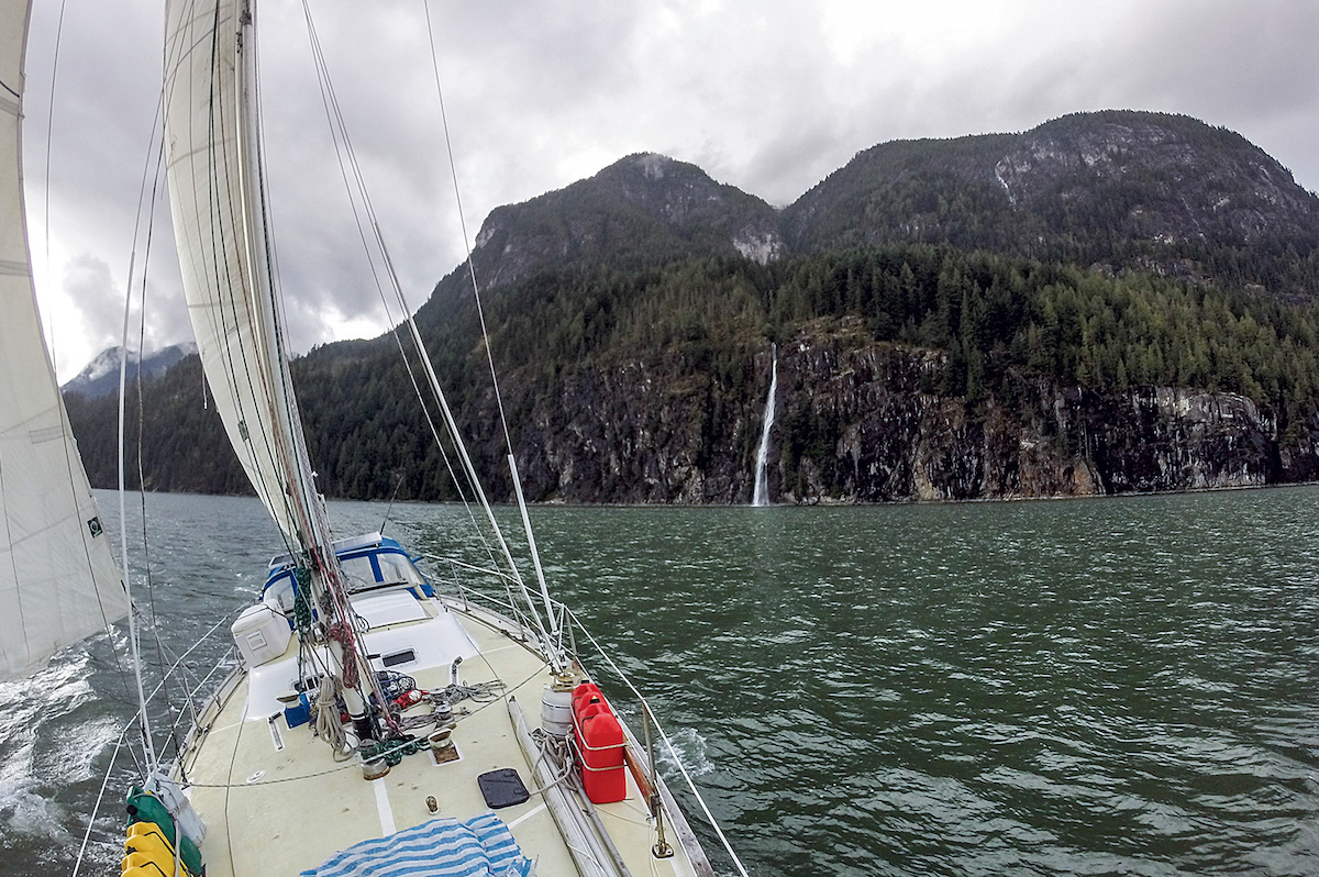 Cole Taylor's ship Ember under sail in British Columbia. Taylor spent weeks sailing more than 1,000 miles on a meandering course from Port Hadlock, Washington to Petersburg, Alaska. [Photo] Cole Taylor