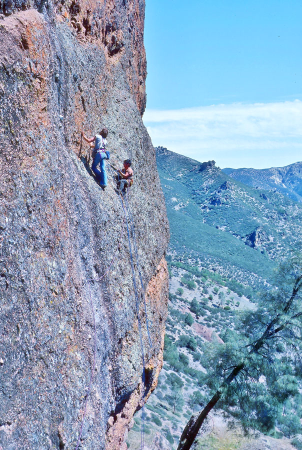 Chris Vandiver and Tom Fukuya scope Pitch 2 prior to the first ascent. [Photo] Tom Higgins collection, Courtesy Friends of Pinnacles