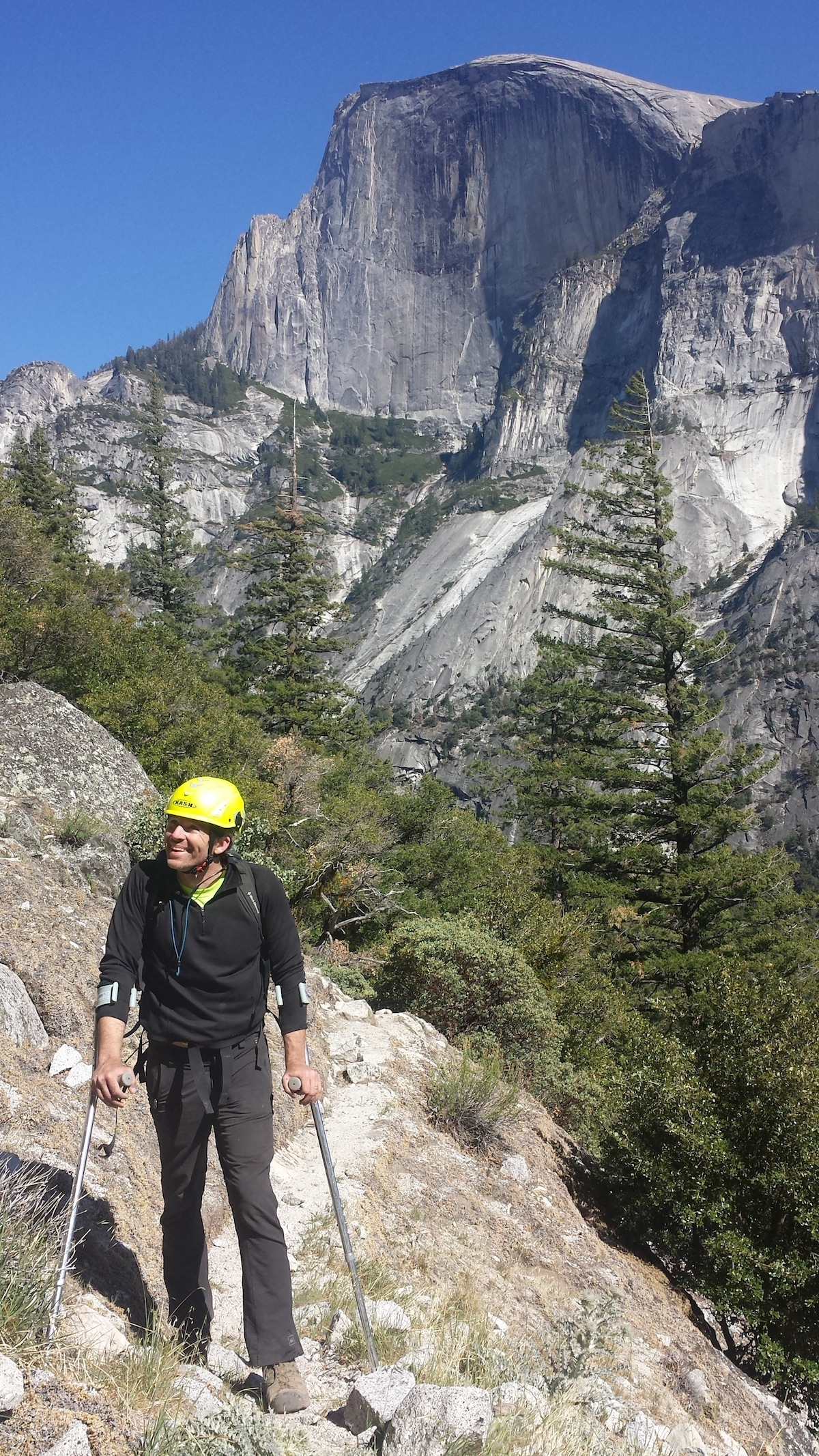 The author on the approach to Washington Column with Half Dome in the background, 2015. [Photo] Alex McKiernan collection