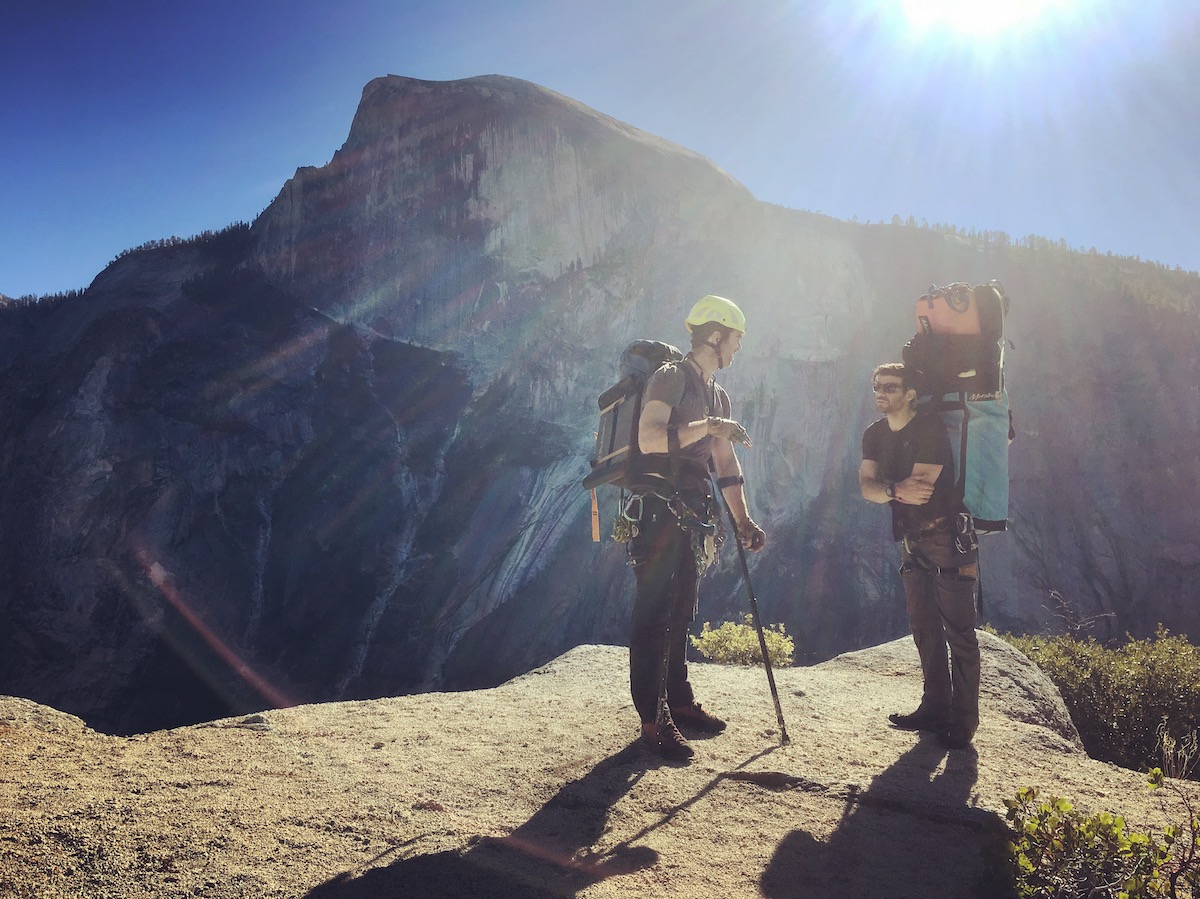 McKiernan and Todd prepare for a long descent from the top of Washington Column after climbing the Prow in 2016. [Photo] Alex McKiernan collection