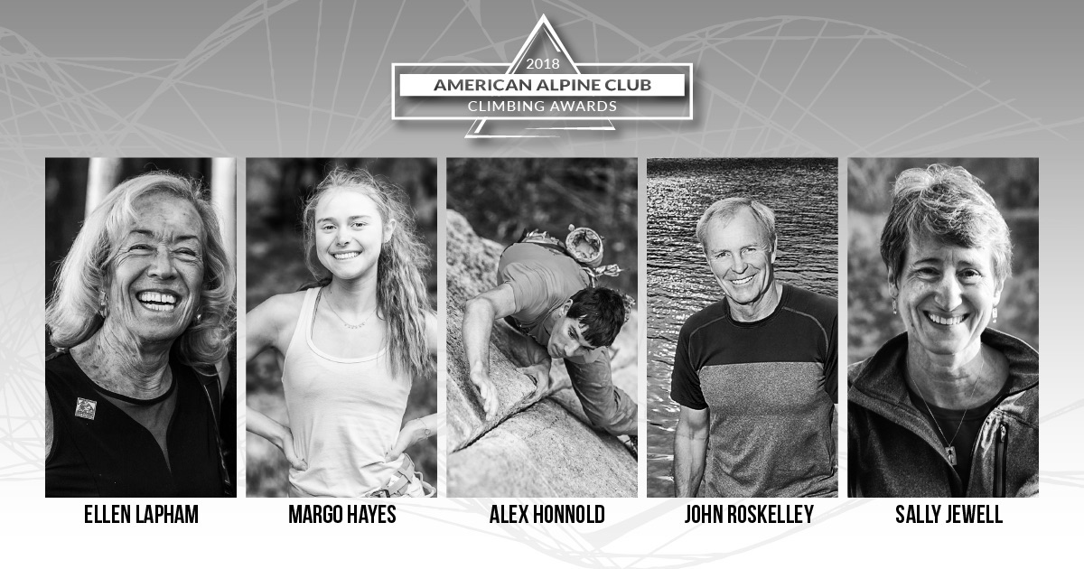 The 2018 recipients of the American Alpine Club Climbing Awards