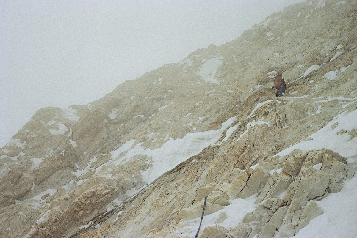 Kurtyka climbs on the West Face of Gasherbrum IV, also known as the Shining Wall, with Robert Schauer in 1985. Voytek Kurtyka collection/Courtesy of Rock Mountain Books