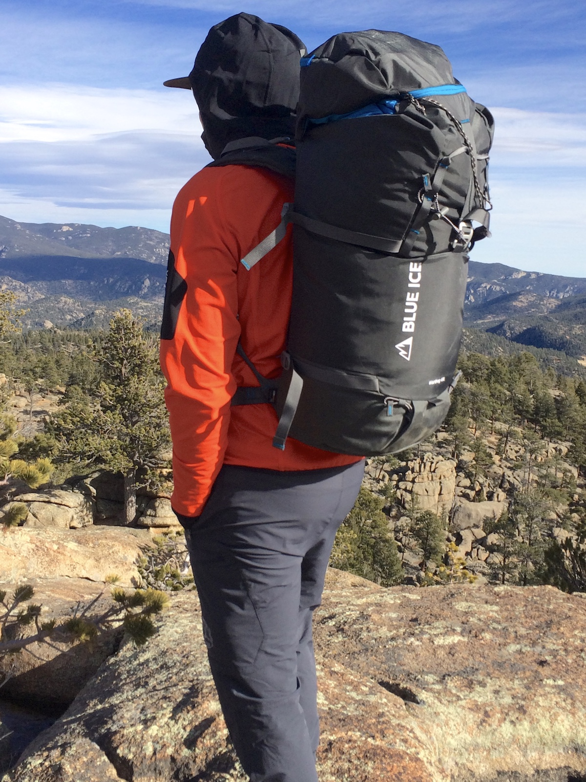 Mike Lewis carrying the Blue Ice Warthog 40L pack in Rocky Mountain National Park, Colorado. [Photo] Chris Wood