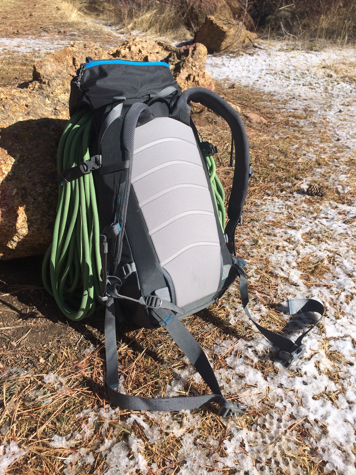 The Warthog 40L Pack, showing the unpadded hip belt, the simple back panel, and the non-expandable, fixed lid. [Photo] Mike Lewis
