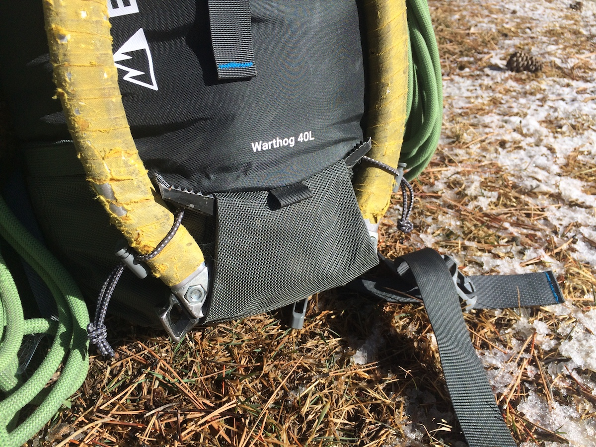The Warthog's ice tool sleeves with bungee and toggle system to keep the picks in place. [Photo] Mike Lewis