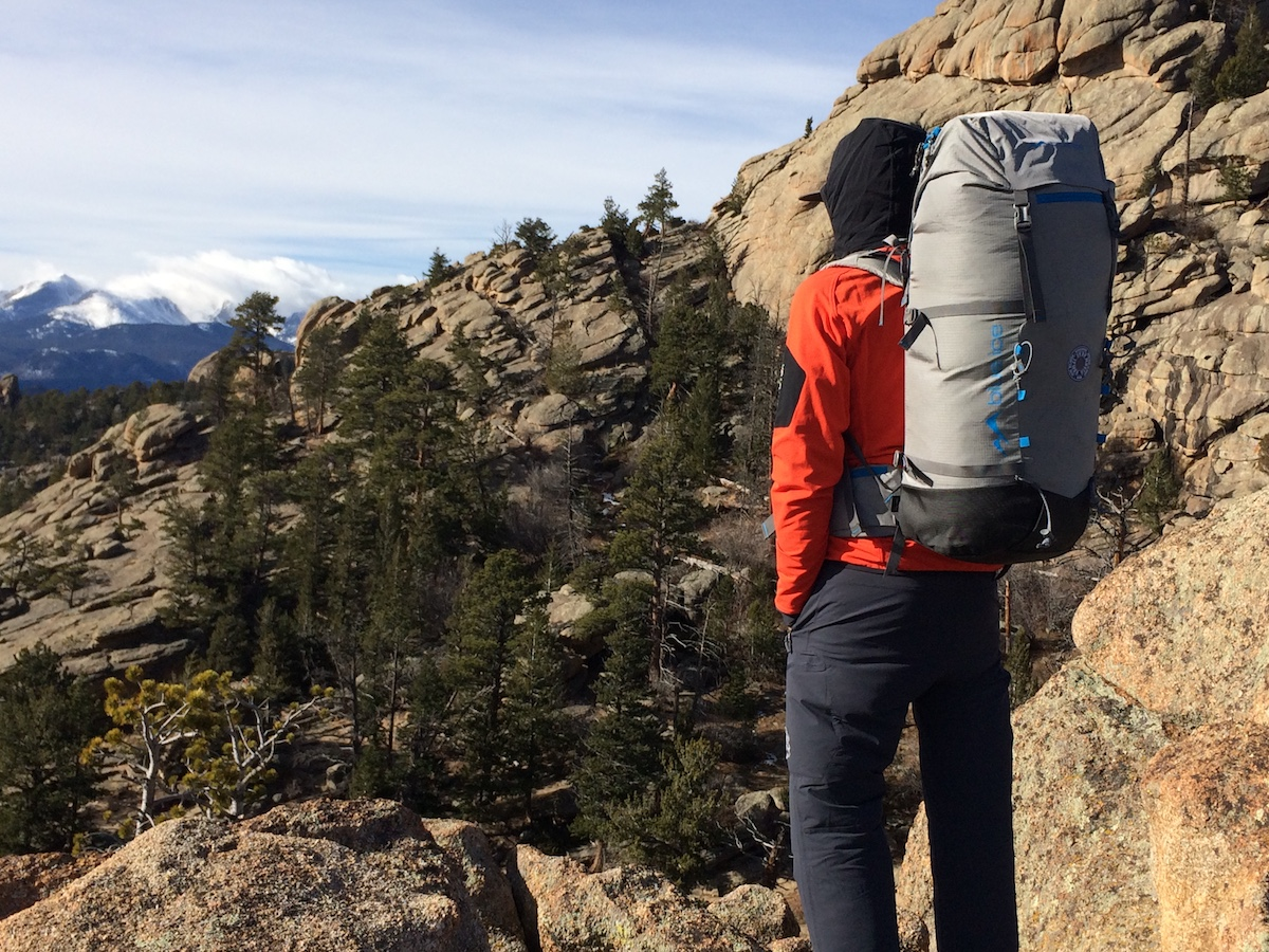 The author with the Blue Ice Yeti 50L backpack in Rocky Mountain National Park, Colorado. [Photo] Chris Wood