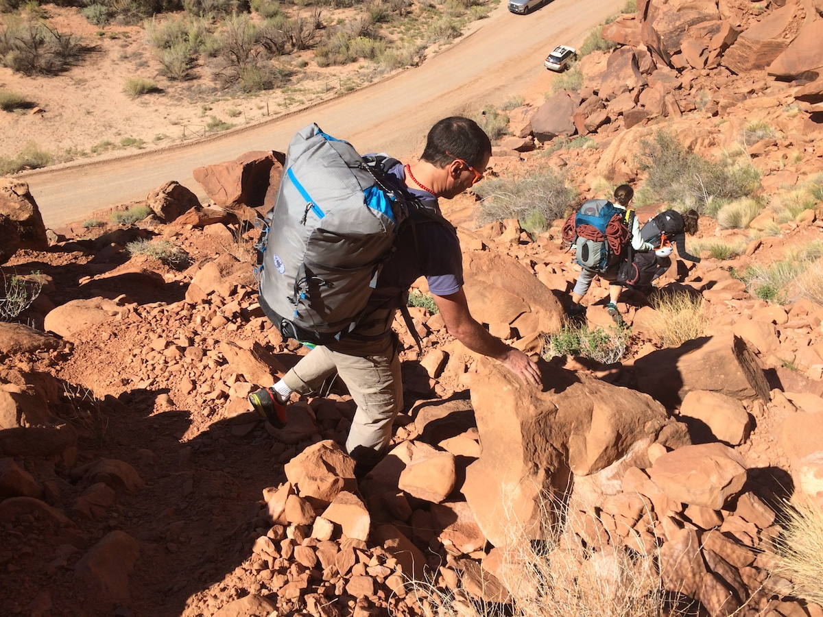 The author carrying the Yeti 50L pack without the lid while guiding in Moab, Utah. [Photo] Brent Butler