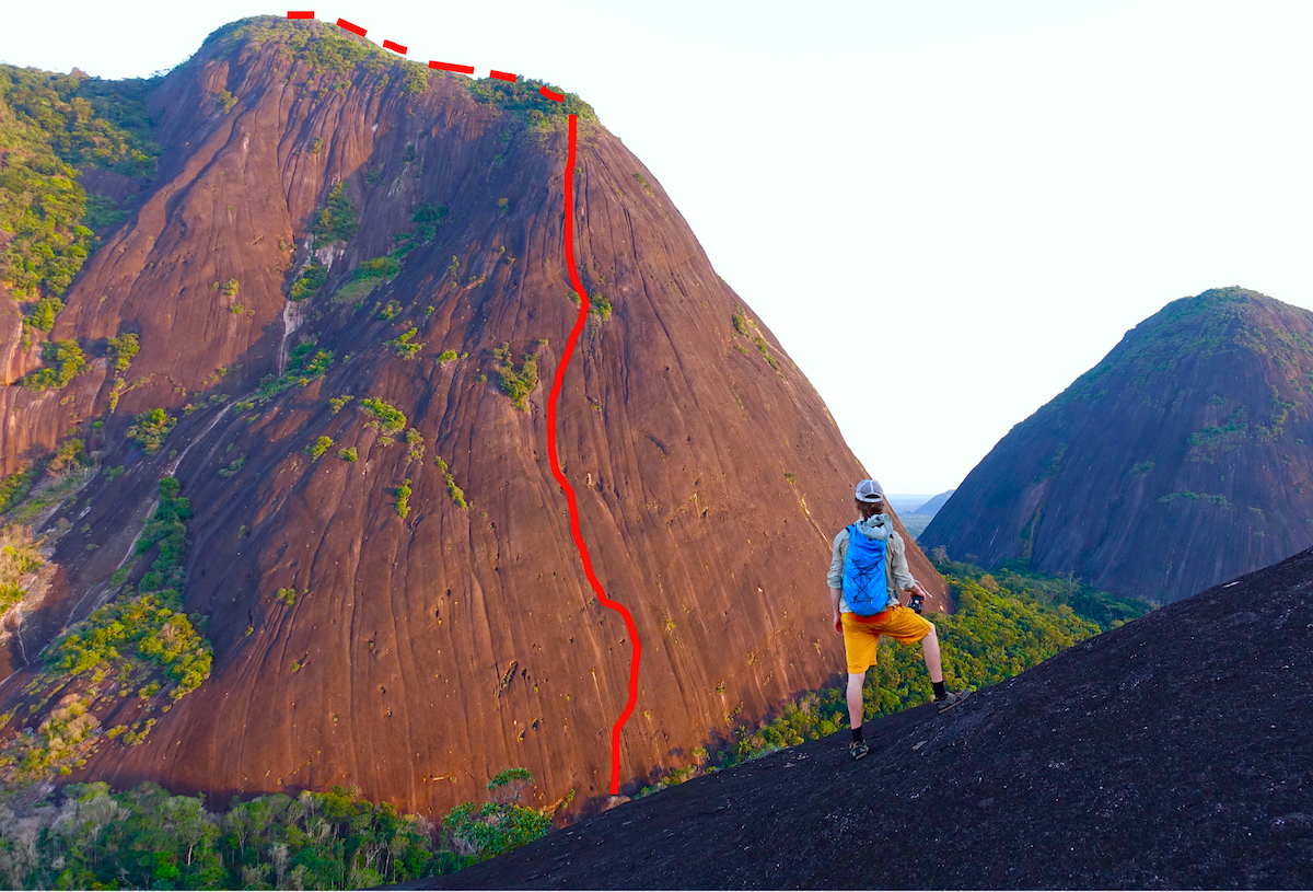 David Allfrey, Kieran Brownie and Paul McSorley's route, El Abrazo de la Serpiente (Embrace of the Serpent; V 5.11c R/X 660m), on Cerro Pajarito is shown in red, as seen from Cerro Diablo. [Photo] Paul McSorley