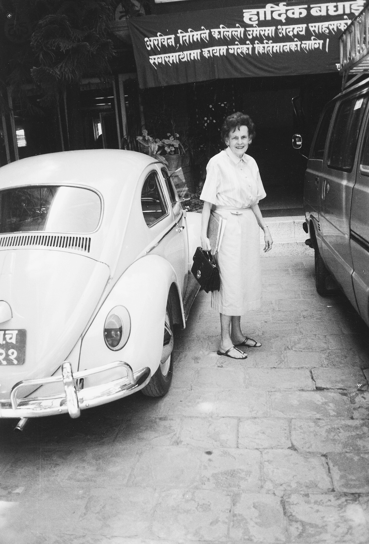 Hawley was known for her Volkswagen Beetle. [Photo] Courtesy of the Michael and Meg Leonard collection
