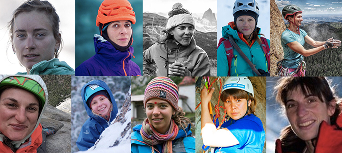 The Grit and Rock First Ascent Award recipients this year, in alphabetical order, from top left-to-right, are: Katie Bono, Cecilia Buil, Whitney Clark, Ixchel Foord, Ilana Jesse, Josie McKee, Nina Neverov, Caro North, Alena Panova and Anna Torretta. [Image] Derek Franz