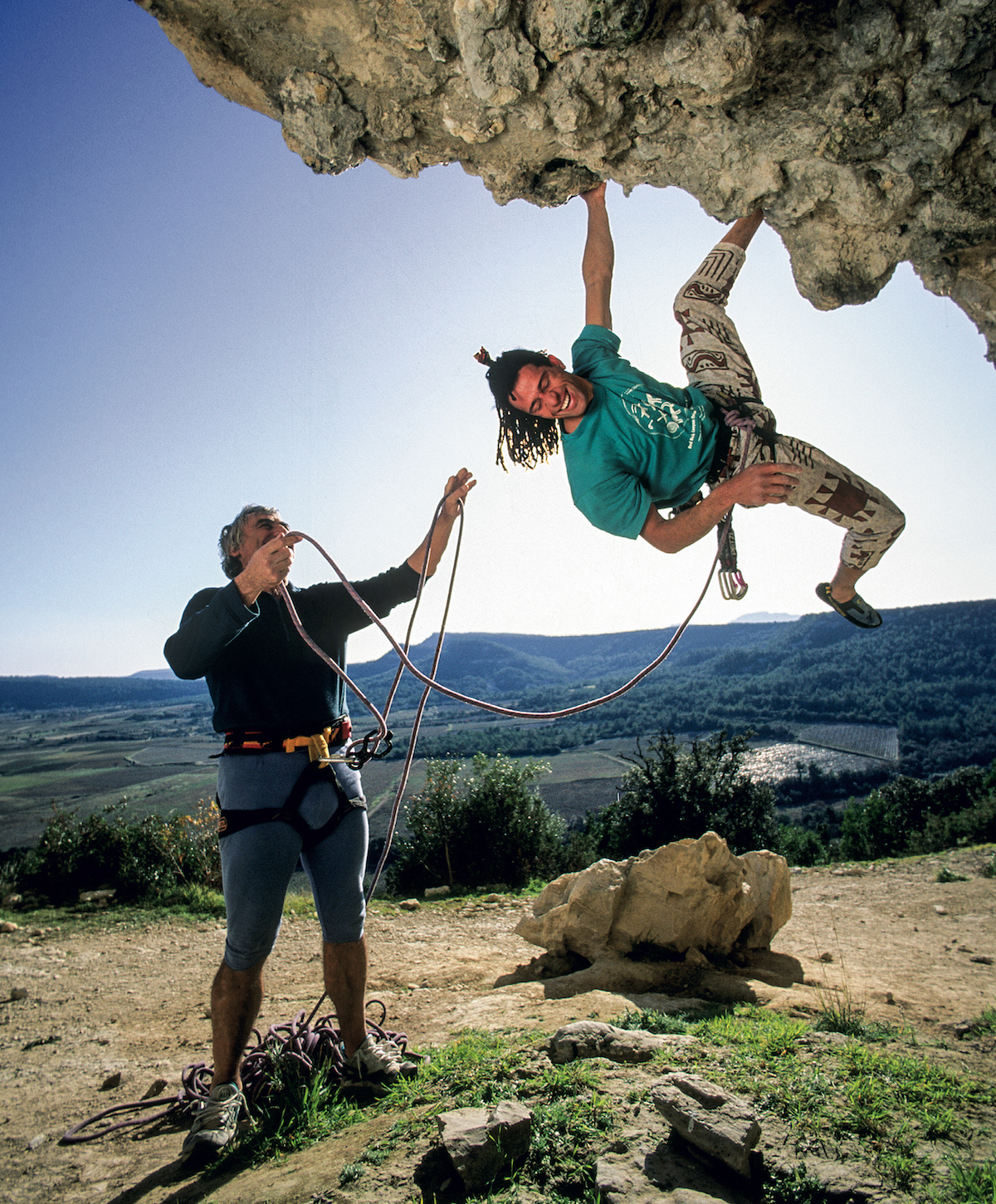 Hugues Beauzile and Lucien Lulu Berardini climbing at the crag they helped develop in Claret, France. [Photo] Pascal Tournaire