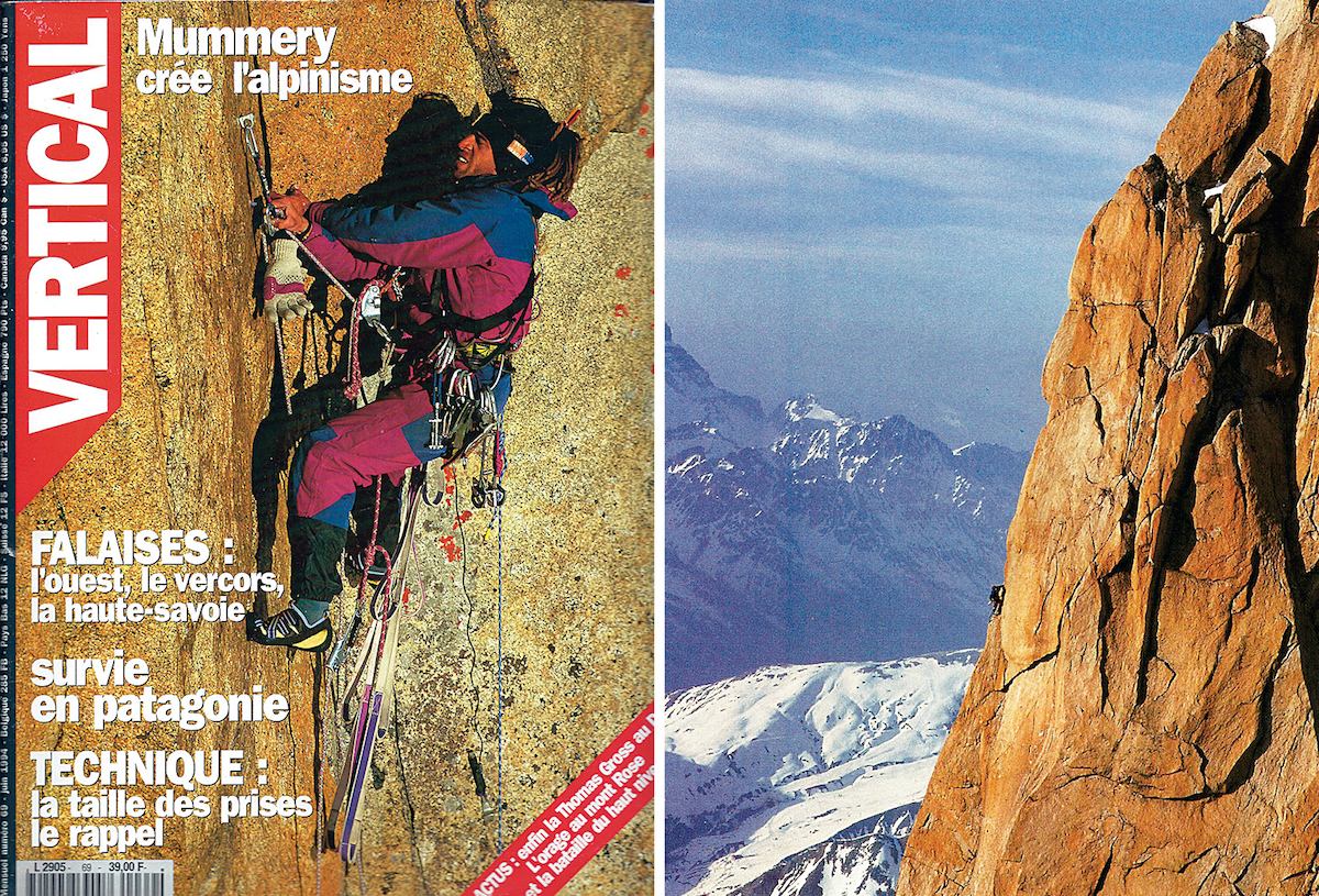 Beauzile on the cover of the French climbing magazine Vertical, June 1994 (left). Beauzile on the Tomas Gross route on the Aiguille du Dru, where he spent nine days climbing alone. [Photos] Courtesy of Philippe Fragnol/Vertical (both)