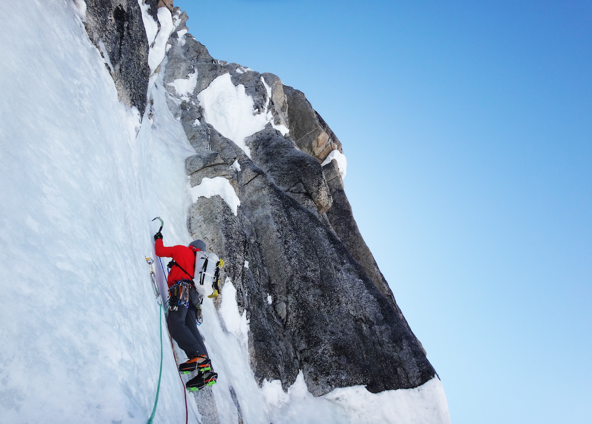 Kurt Ross on the French Route of the North Buttress of Begguya (Mt. Hunter), Alaska. [Photo] JD Merritt