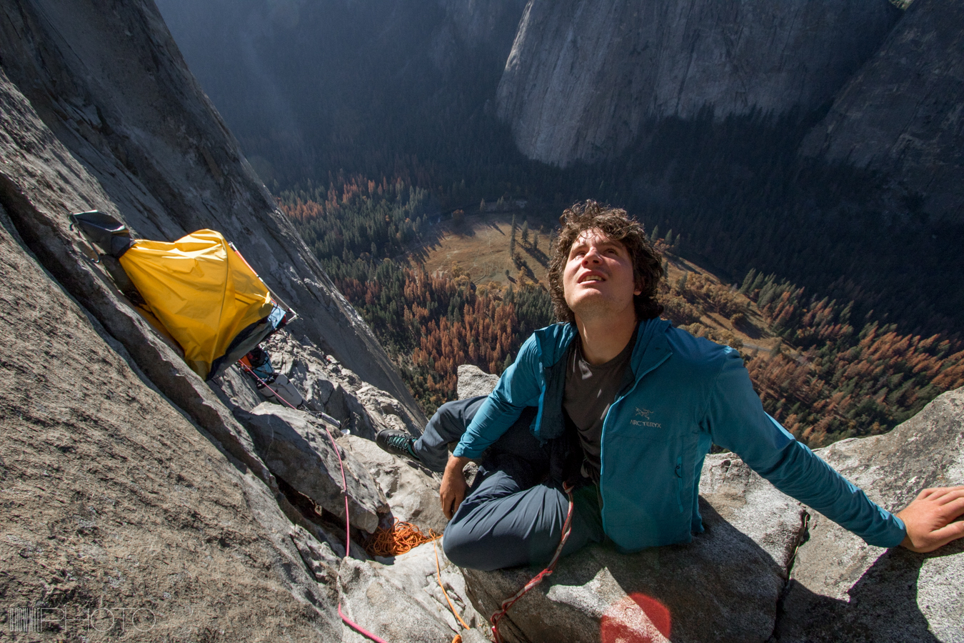 Marc-Andre Leclerc on a successful free ascent of El Capitan's Muir Wall (VI 5.13c 900m) with Brette Harrington and Alan Carney in 2015. [Photo] Bradford McArthur