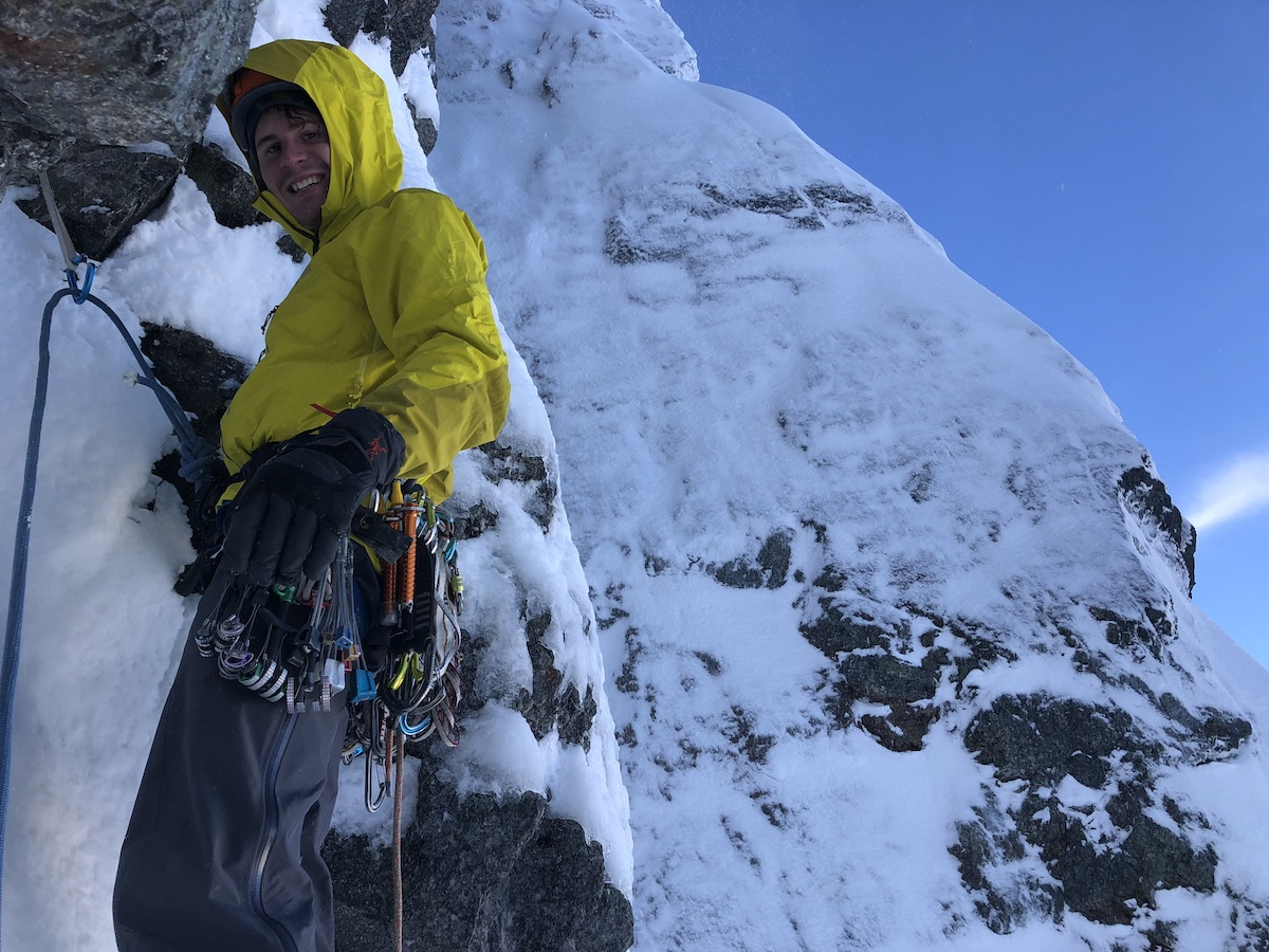 Leclerc on the first winter ascent of the Walter-Zanger route on the north face of Ledge Mountain, Squamish, British Columbia, with Brette Harrington, February 2018. [Photo] Brette Harrington