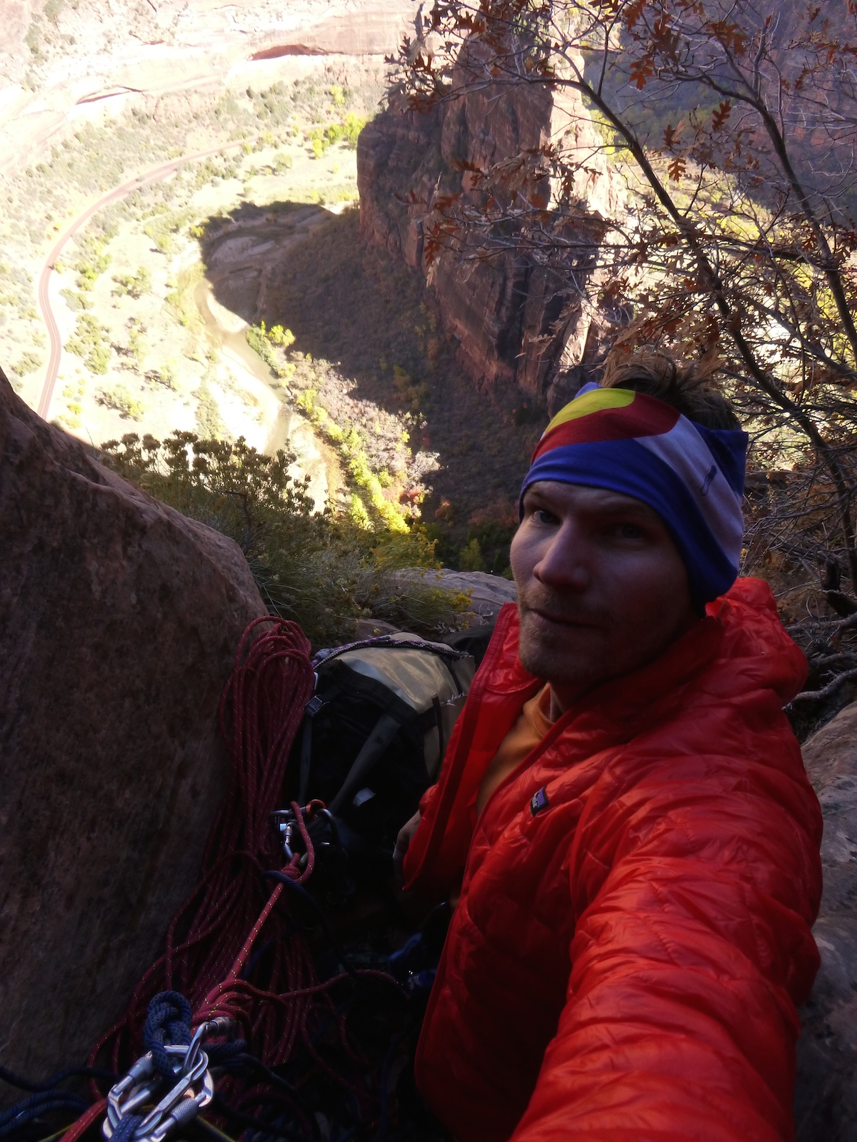 The author near the top of Prodigal Sun, Zion. [Photo] Derek Franz
