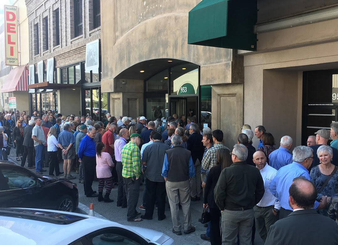 Hundreds gather outside the venue for the Royal Robbins Memorial held on March 12 in Modesto, California. [Photo] Derek Franz